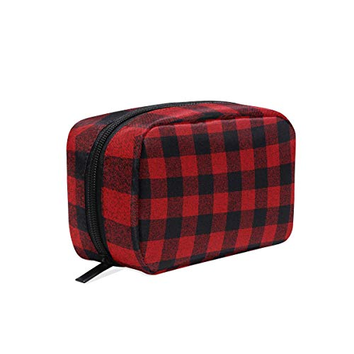 Makeup Cosmetic Bag Classical Black Red Square Check Plaid Pattern Portable Travel Train Case Toiletry Bags Organizer Multifunction Storage Bag