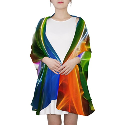 Ethel Ernest Womens Silk Scarf Colorful Bird Of Paradise Flower Lightweight Shawl Soft Long Scarves