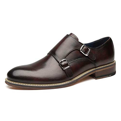 La Milano Mens Leather Double Monk Strap Oxford Slip-on Loafer Comfortable Formal Business Dress Shoes for Men