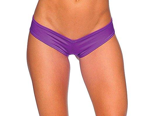 BODYZONE Apparel Women's Scrunch Back Super Micro Shorts. M/L (Purple)