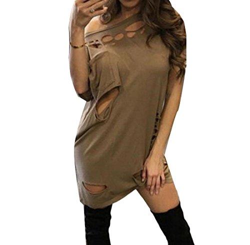 Summer Casual Comfy Comfy Oblique Womens Fashion Sundress Womens Loose Khaki x70q7v4X