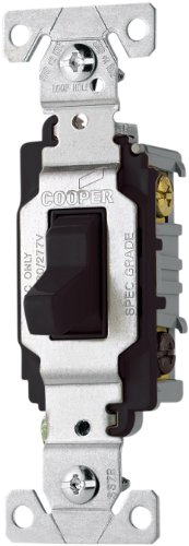 EATON Wiring CS320BK 20-Amp 120/277-volt Commercial Grade 3-Way Compact Toggle Switch with Side Wiring, Black Finish