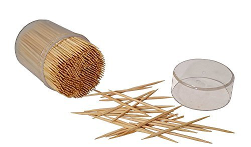 MontoPack Bamboo Wooden Toothpicks | 1000-Piece Large Wood Round Toothpicks in Clear Plastic Storage Box | Sturdy Safe Double Sided Party, Appetizer, Olive, Barbecue, Fruit, Teeth Cleaning Toothpicks