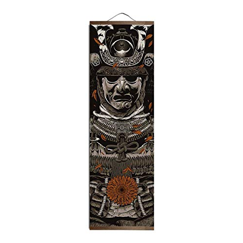 Jewh Japanese Ukiyoe for HD Canvas Poster Wall Pictures for Living Room Decoration - Painting Wall Art with Solid Wood Hanging Scroll (30x96cm) (Yellow)