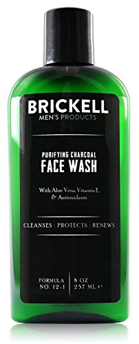 (Brickell Men's Purifying Charcoal Face Wash for Men, Natural and Organic Daily Facial Cleanser, 8 Ounce, Scented)