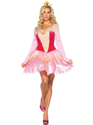 Leg Avenue Disney 2Pc. Princess Aurora Costume Dress with Organza Stay Up Collar and Crown HeadPiece, Pink, ()