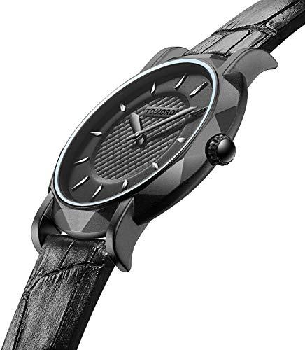 Strap Wrist Original (TOMORO New Men's Ultra-Thin Quartz Analog Luxury Wrist Watch with Black Leather Strap and Brass Case)