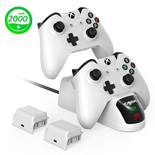Xbox One Controller Charger, Vogek 2 × 2000mAh Rechargeable Battery Pack + Xbox Wireless Controller Charging Dcok for Two Xbox One/S/Elite/X Controller White