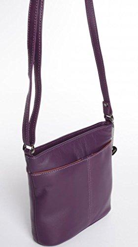 Josephine Osthoff Handtaschen-Manufaktur Biarritz - lila -, Borsa a tracolla donna Viola viola 20 cm breit, ca. 19 cm hoch, ca. 6,5 cm tief