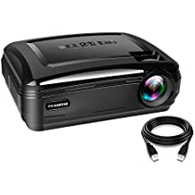 PRAVETTE Projector for Home Office Use Multimedia Entertainment Updated 30% Brighter Sharp Screen, Support Native1080p Dual HDMI USB Computer Laptop Video Movie
