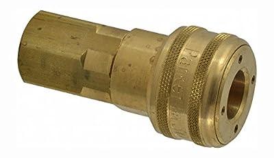 "Parker Hannifin B37 Series 30 Brass Pneumatic Quick Coupler, Female Pipe Thread, 1/2"" Size, 1/2-14 NPTF Port"
