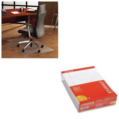 KITFLR1213419LRUNV20630 - Value Kit - Floortex ClearTex Ultimat Polycarbonate Chair Mat for Hard Floors (FLR1213419LR) and Universal Perforated Edge Writing Pad (UNV20630) by Floortex