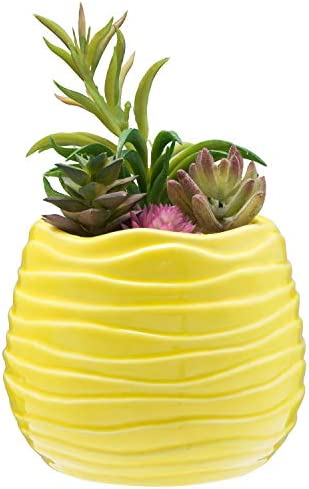 5.5 Inch Yellow Ceramic Wavy Design Plant Flower Planter Container Pot Decorative Centerpiece Bowl Vase