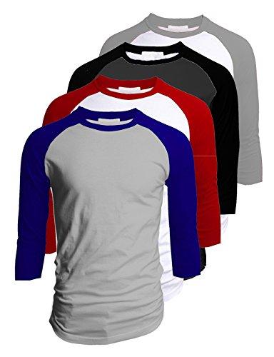 TL Men's 4 Pack 3/4 Sleeve Baseball Cotton Crew Neck Raglan Tee Shirts S to 3XL - MEDIUM
