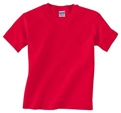 (Gildan Big Boys' Heavyweight Taped Neck Comfort T-Shirt, Red, Medium)