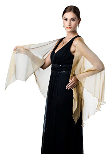 Antique Gold Silk Chiffon Triangular Shawl Wrap For
