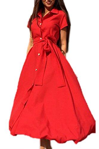 La Mujer De Manga Corta Camisa De Cuello Largo Partido Vestido De Fiesta Red
