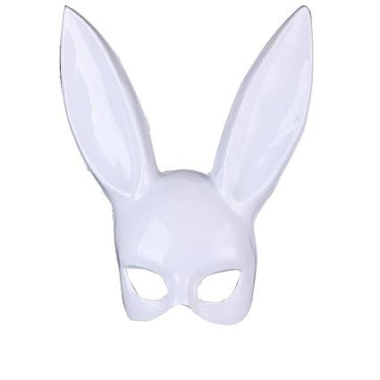 JUNGEN Máscara de Orejas de Conejo Máscara Media Cara para Fiesta de Disfraz de Halloween