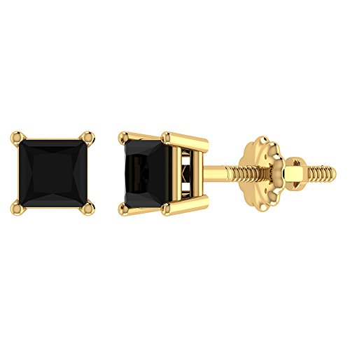 (Black Diamond Earrings Princess Cut 14K Yellow Gold Studs 1/2 carat total weight Screw Back Posts Natural Earth-mined )