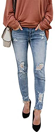 onlypuff Women's Blue Skinny Ripped Jeans Destroyed Stretch Pants with Holes 4