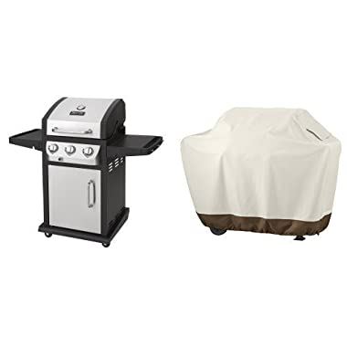 Dyna-Glo DGB390SNP-D Smart Space Living 36,000 BTU 3-Burner LP Gas Grill & AmazonBasics Grill Cover - Medium