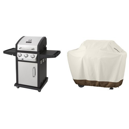 Dyna-Glo DGB390SNP-D Smart Space Living 36,000 BTU 3-Burner LP Gas Grill & AmazonBasics Grill Cover - Medium (Dyna Glo Gas Grill Cover)