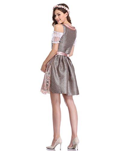 Oktoberfest Grigio formato 2xl Dirndl vestito abito Donna bavarese Gonna Da Rosa Per Etbotu S Lunga Costume Dirndl HapPxwT