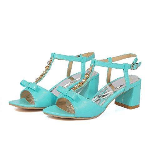 AllhqFashion Mujeres Hebilla Tacón ancho Sólido Puntera Abierta Sandalias de vestir con Lazos Azul