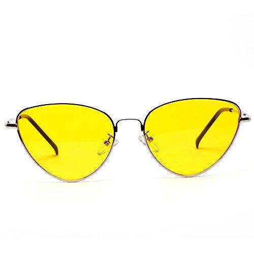 Marco Lente de del Gafas UV Metal Mujer de Espejo Amarillo Única Polarizadas 400 Clásico Ligero Protección Sol Aviador Talla Contever Onvawx45q6