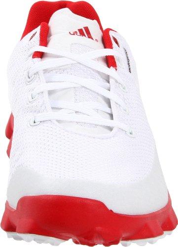 adidas Men's Crossflex Golf Shoe,White/Black/Red,10 M US