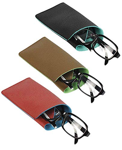 [3 PACK], JAVOedge Double Reading Eyeglass Storage Case [Fits 2 Frames] in Soft 2 Color Pouch Style w/Microfiber ()