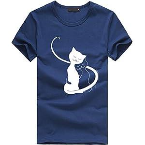 Canifon Women's T-Shirts Short Sleeve Crew Neck Casual Blouses Cat Printed Plain Loose Plus Size Summer Retro Tunic Tops