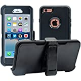 iPhone 6 / 6S Cover | 2-in-1 Screen Protector & Holster Case | Full Body Military Grade Edge-to-Edge Protection with carrying belt clip | Drop Proof Shockproof Dustproof | Black / Black