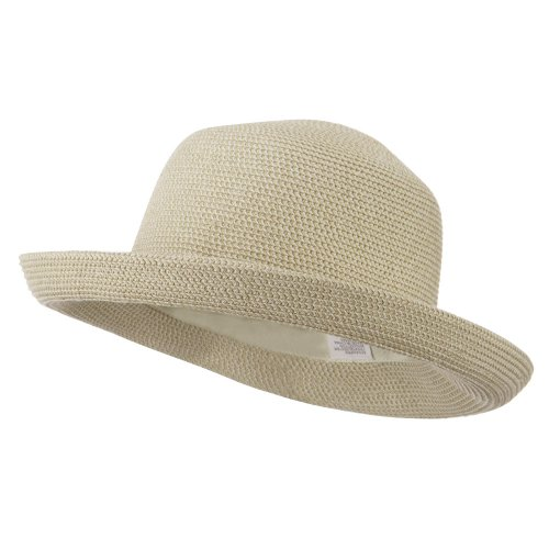 (UPF 50+ Cotton Paper Braid Med Kettle Brim Hat - White Tweed OSFM)