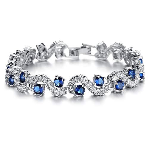SOVSEFD Women Bracelets 18K Gold Plated Birthstone Crystal Elegant Multi-Gemstone and Diamond Cubic Zirconia Tennis Bracelet for Women Girls Ladies (Style #6)