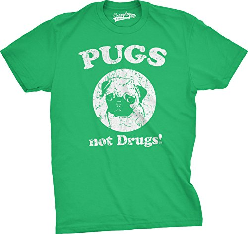 Mens Pugs Not Drugs T Shirt Pug Face Funny T Shirts Dogs Humor Novelty Tees (Green) L (T-shirt Pug Off)
