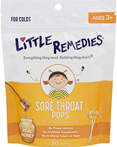 Little Remedies Sore Throat Pops | Made with Real Honey | Bag of 20 Pops  | Ages 3+