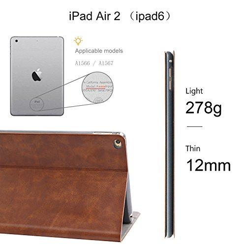 iPad Air 2 Case, AUAUA iPad Air 2 PU Leather Case with Smart Cover Auto Sleep/Wake +Screen Protector for Apple iPad Air 2 (iPad Air 2 case, Air2 Choco Brown) by auaua (Image #2)