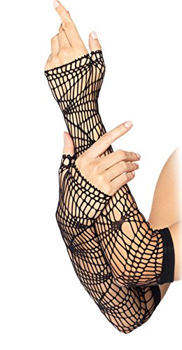 Leg Avenue Women's Distressed Net Arm Warmer, Black, One Size