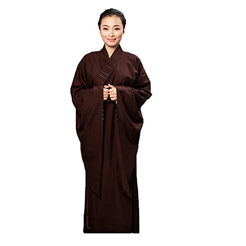 ZooBoo Women Opaque Cambric Lay Monk Costume Robe Buddhism Uniform Long Gown (35/140, Coffee)