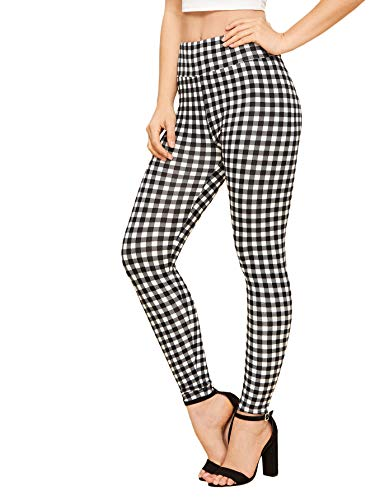 (WDIRARA Women's Plaid Wide Waist Sporty Capris Pants Skinny Gingham Leggings Black and White L)