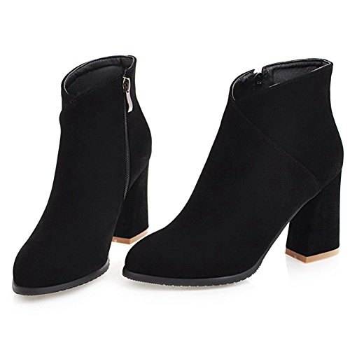 DoraTasia Women's Fashion Ankle High Side Zipper Pointed Toe Chunky Heel Ankle Boots Black CS3cge5VA