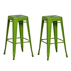 Joveco 30 Inches Green Sheet Metal Frame Tolix Style Bar Stool - Set of 2