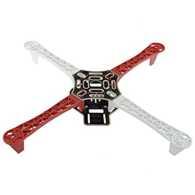BW® DIY F450 4-Axis RC QuadCopter MultiCopter Frame Airframe Kit + 4Pcs A2212 1000KV Brushless Motors + 4Pcs 30A ESC + 2Pairs 1045 Propeller Props for MK,KK, FF,MWC(White + Red)Set 1