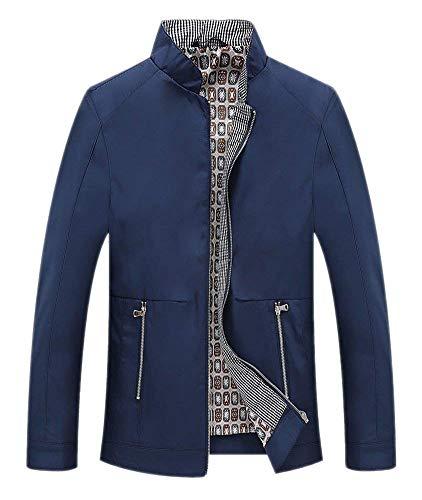 Con Autunno Impermeabile Collare Allentata Uomo Antivento Da Tinta Giacca Cerniera Capispalla Unita Abbigliamento Blau Stand Giacche HwqEC0vW