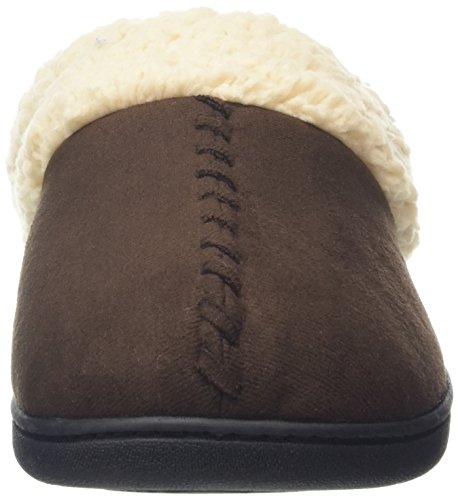 Dearfoams Microsuede Clog With Whipstitch And Memory Foam - Zapatillas bajas para mujer Marrón (Espresso 00205)