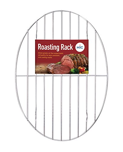 [HIC Oval Wire Roasting Baking Broiling Rack, 12-Inches x 8.5-Inches] (Oval Roasting Pan)