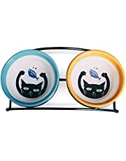 MushroomCat Pet Personalized Cute Feeder Double Ceramic Cat Dog Bowl Dishes Elevated Food and Water Bowls with Metal Raised Antiskid Stand (Blue and Orange)