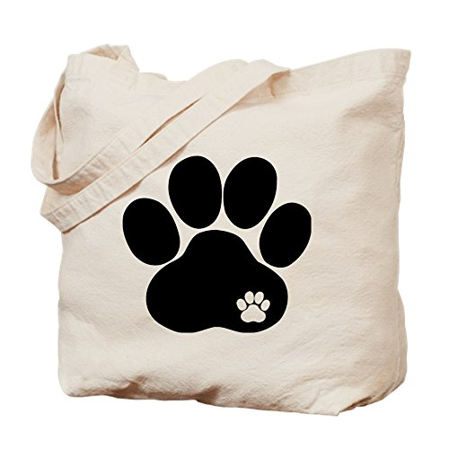 CafePress Double Paw Natural Canvas Tote Bag, Cloth Shopping Bag