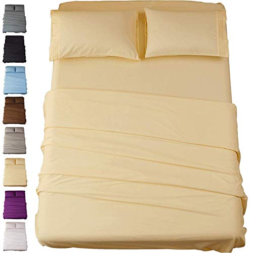 Sonoro Kate Bed Sheet Set Super Soft Microfiber 1800 Thread Count Luxury Egyptian Sheets 18-Inch Deep Pocket Wrinkle and Hypoallergenic-4 Piece(Queen Ivory) (Barry Beds Barbara)